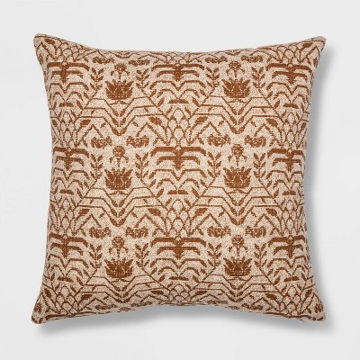 Floral Printed Square Pillow Coral - Threshold™