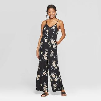 Women's Floral Print Strappy V-Neck Jumpsuit - Xhilaration™ Black M