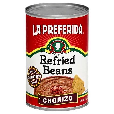 La Preferida Refried Beans with Chorizo - 16oz