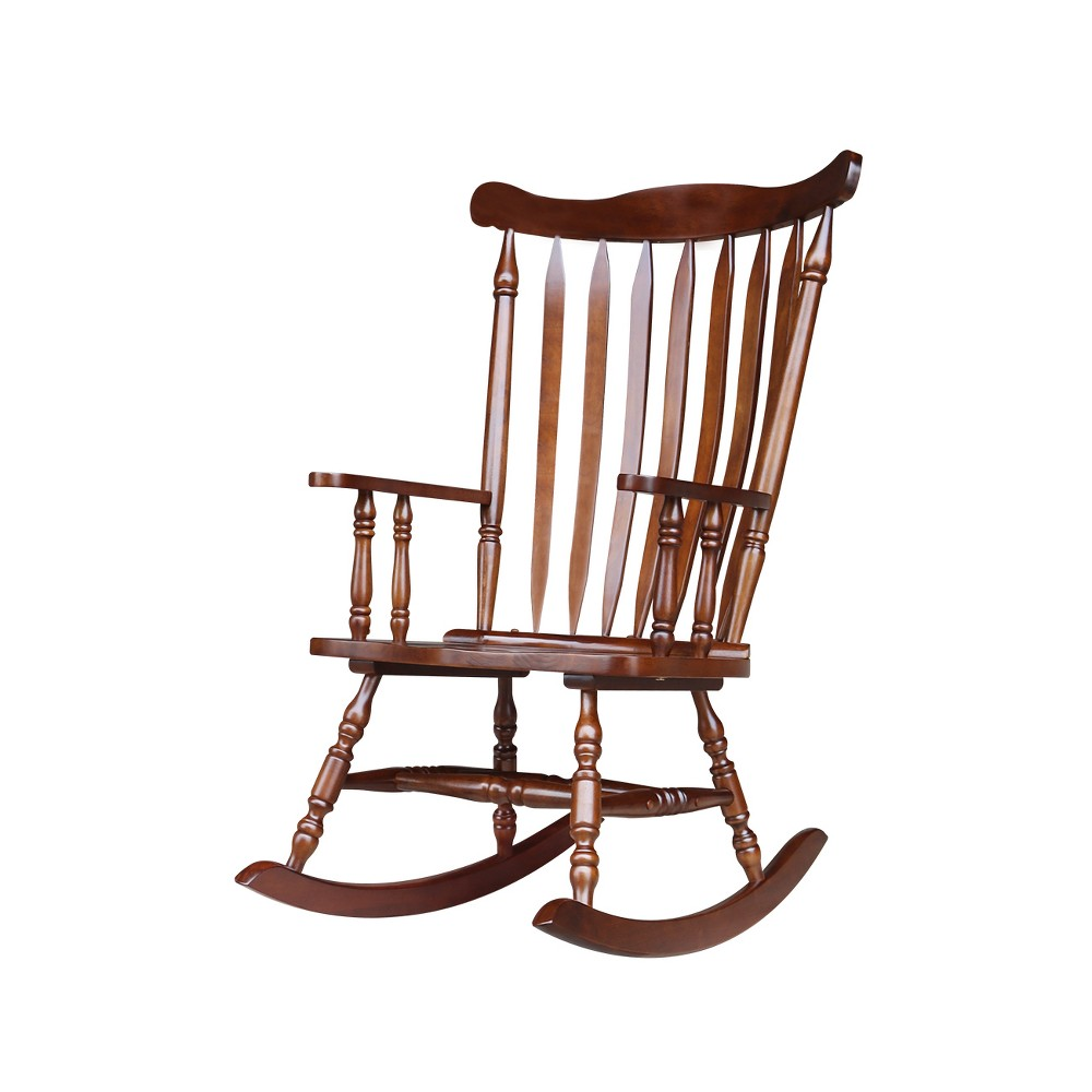 Rocking Chair Espresso Solid Wood- International Concepts, Brown