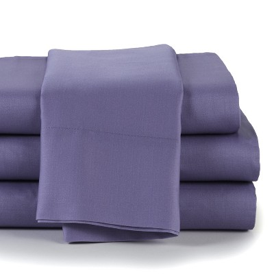 Lakeside 300 Thread Count Cotton Spring Fitted Bed Sheet Set - Full - Dark Lilac