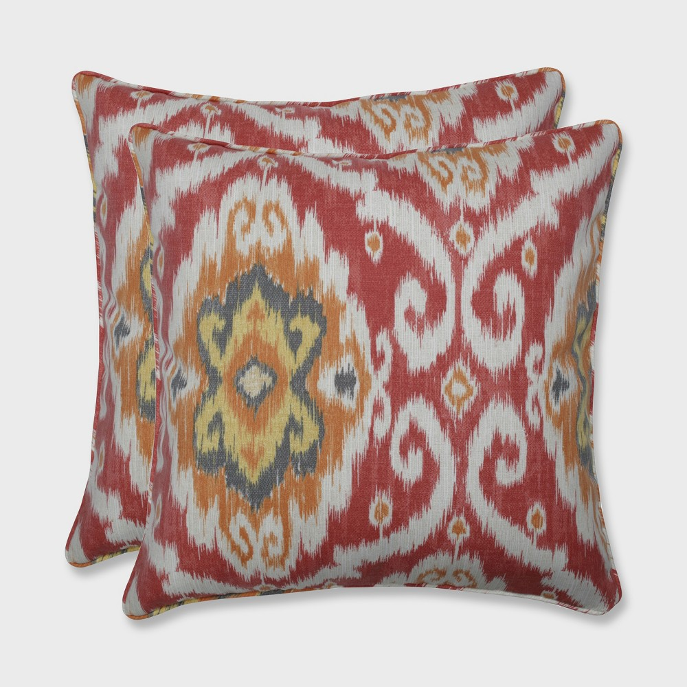 2pk 18.5 Ubud Outdoor Throw Pillow Coral - Pillow Perfect, Blue