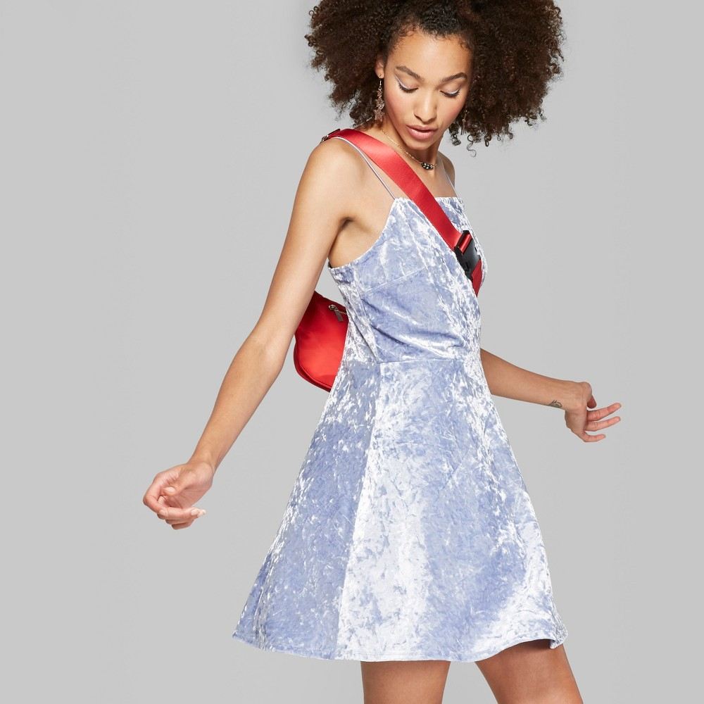 Women's Strappy Velvet Dress - Wild Fable Soft Blue M was $20.0 now $9.0 (55.0% off)