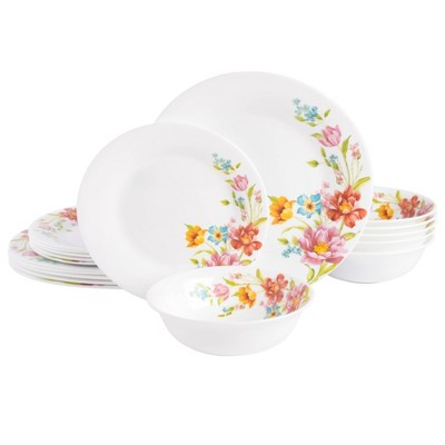 Gibson Ultra 18pc Opal Tempered Glass Dinnerware Set - Red Floral Decal