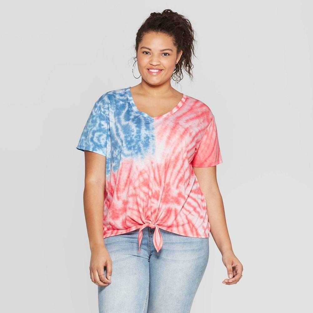6a5586a925353 ... Women's Plus Size Short Sleeve V Neck Flag Tie Front T Shirt Fifth Sun  Juniors' Tie Dye 1X Color Multicolored. Gender Female. Age Group Adult.