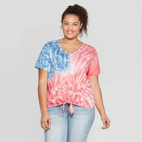 0eadfc3cf Women's Plus Size Short Sleeve V-Neck Flag Tie Front T-Shirt - Fifth Sun  (Juniors') - Tie Dye