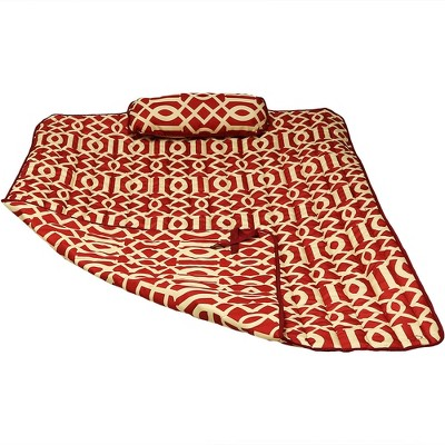 Polyester Quilted Hammock Pad and Pillow - Royal Red - Sunnydaze Decor