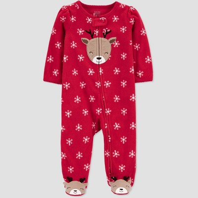 Baby Girls' Reindeer with Snowflakes Fleece Sleep N' Play - Just One You® made by carter's Red 9M