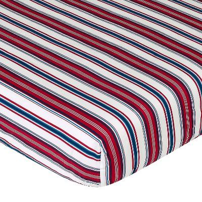 Sweet Jojo Designs Nautical Nights Fitted Crib Sheet - Stripe