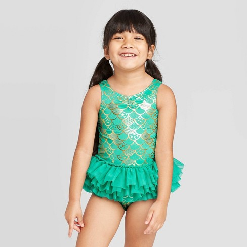 Toddler Girls' Mermaid Scale Bow Back Tutu One Piece Swimsuit - Cat & Jack™ Turquoise - image 1 of 3