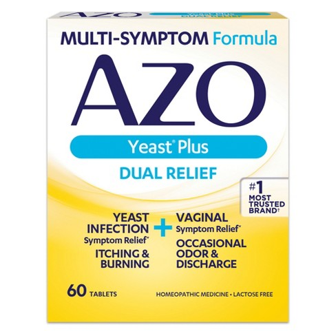 Azo Yeast Plus Dual Relief Yeast Infection Symptom Relief Tablets - 60ct