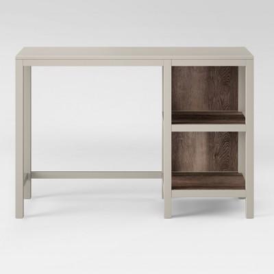 Hadley Wood Writing Desk with Storage Stone Gray - Threshold™