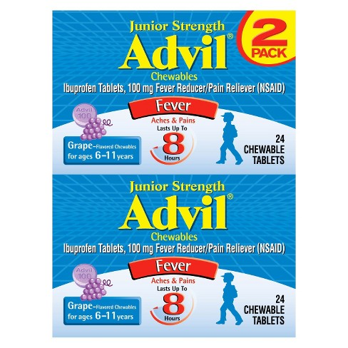 Advil Junior Strength Pain Reliever/Fever Reducer Chewable Tablets - Ibuprofen (NSAID) - Grape Flavor - 24ct/2pk - image 1 of 2