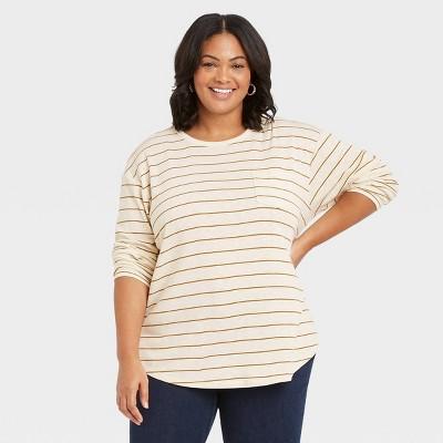 Women's Plus Size Long Sleeve Pocket T-Shirt - Ava & Viv™
