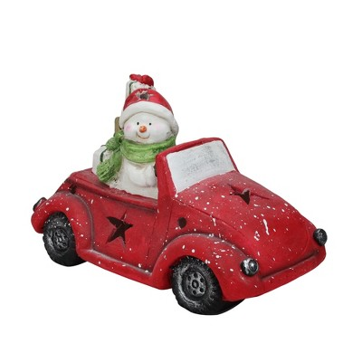 Northlight Pre-Lit LED Joyful Snowman Driving a Red Beetle Star Car Tabletop Decor