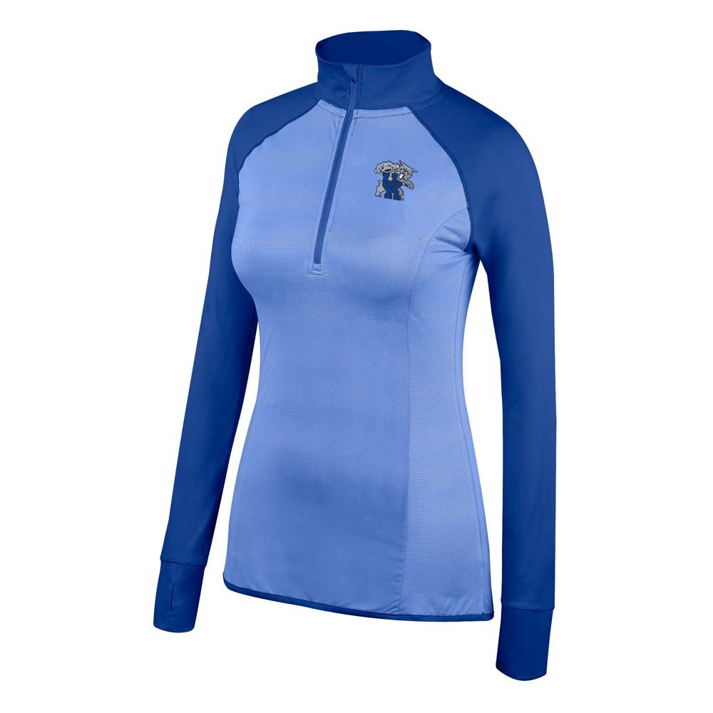Kentucky Wildcats Women's Long Sleeve Raglan 1/2 Zip Pullover Sweatshirt - S, Blue