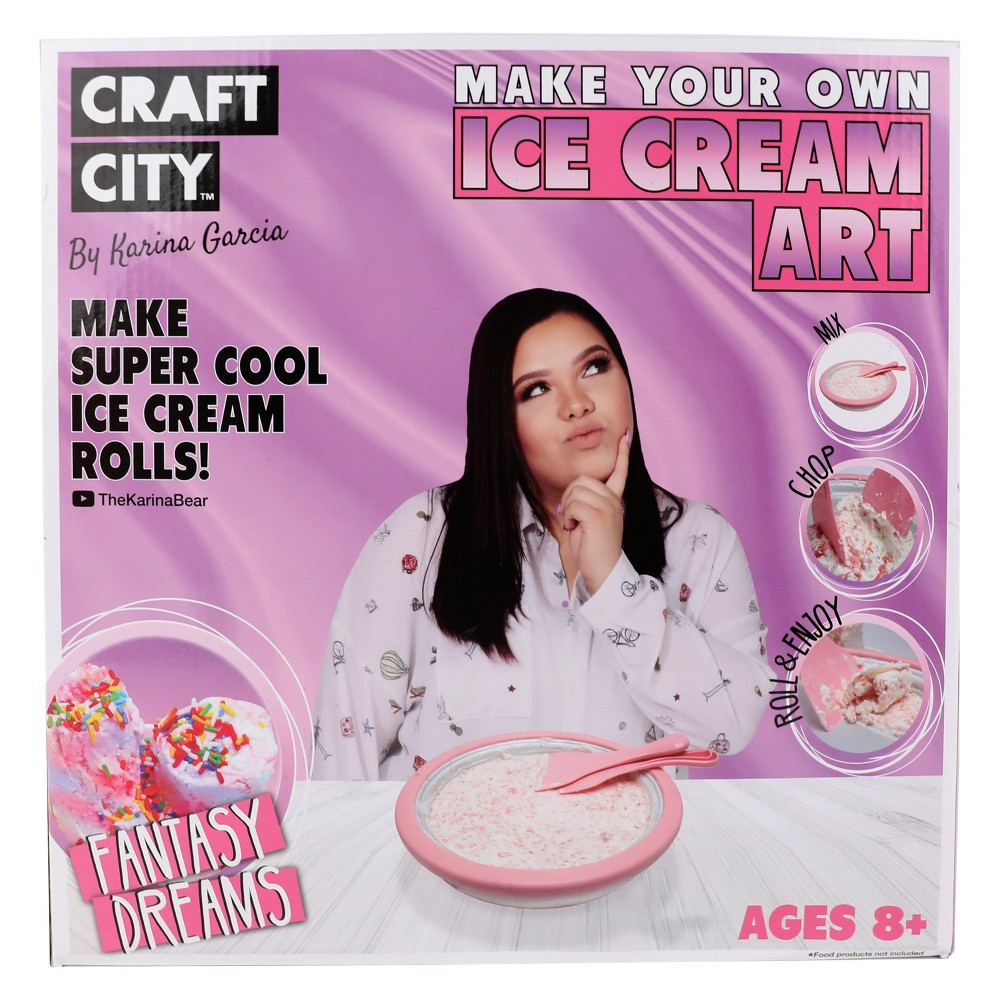 Karina Garcia Make Your Own Ice Cream Art by Craft City Leap into the Diy ice cream craze with Karina Garcia's Make Your Own Ice Cream Art by Craft City! This kit comes with an amazing fast freeze pan and two spatulas which allow your child to make incredible ice cream rolls right at home! The instruction sheet includes a recipe that will jump start their imagination and help them make delicious homemade ice cream treats. Simply freeze the pan overnight and follow the instruction sheet recipe, and soon your child will be making beautiful and tasty works of ice cream art! Kit Includes: -Instructions -Ice Cream Freeze Pan -2 Spatulas - Long Spoon Gender: Unisex.