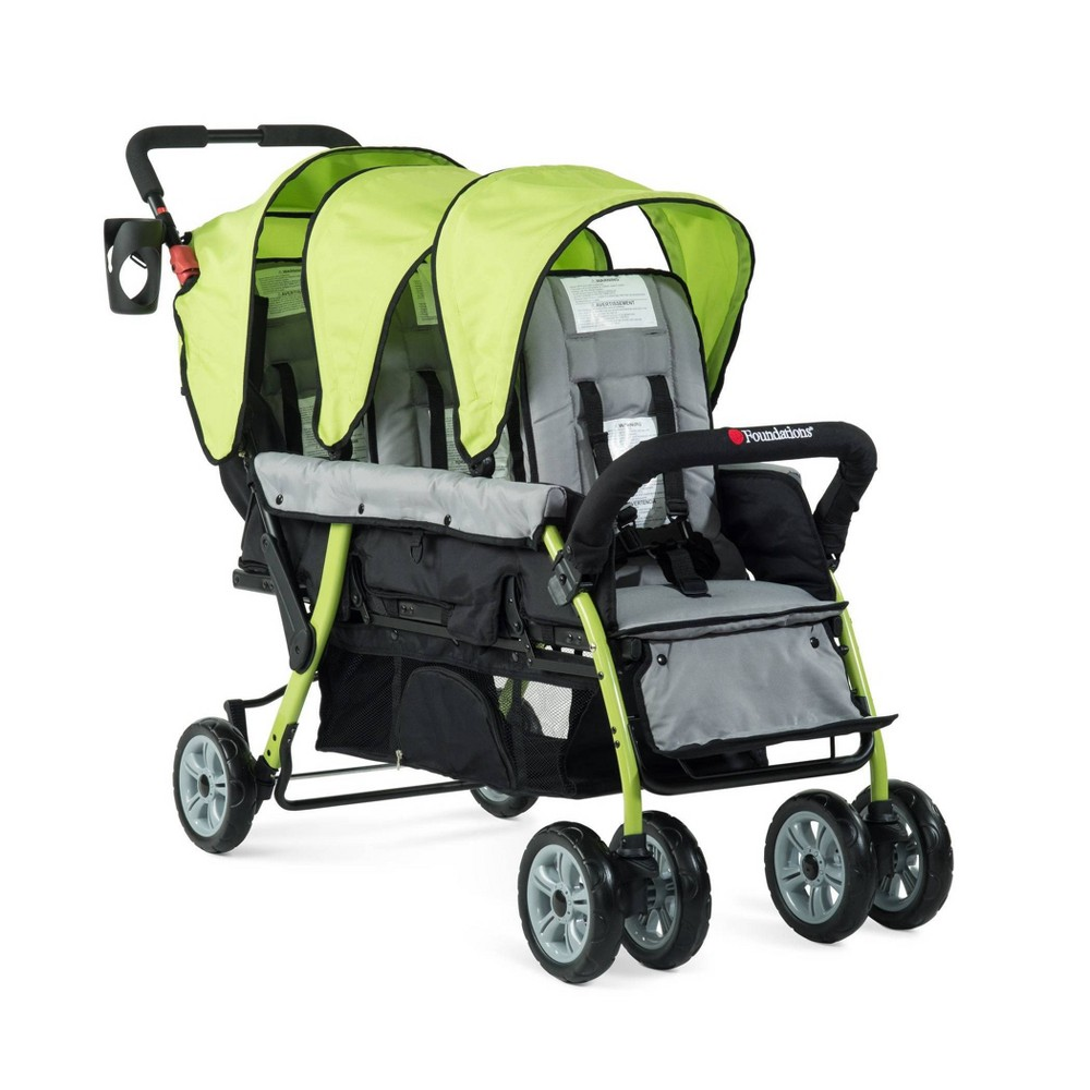 Image of Foundations Trio Sport 3 Passenger Stroller - Lime