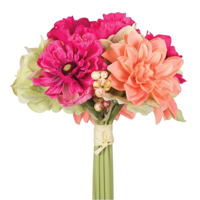 Artificial Dahlia/Poppy Plant (10 )Pink/Orange/Green - Vickerman
