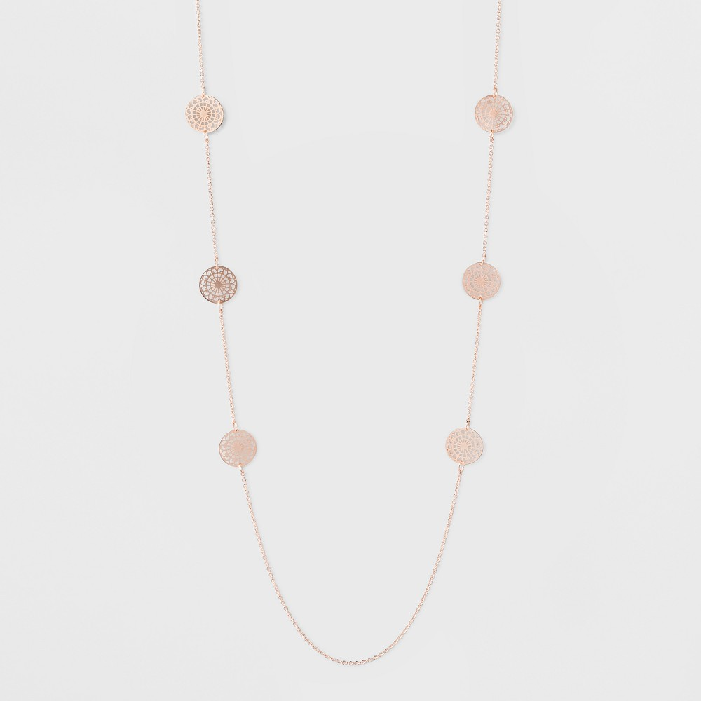 Filigree Coins Long Necklace - A New Day Rose Gold