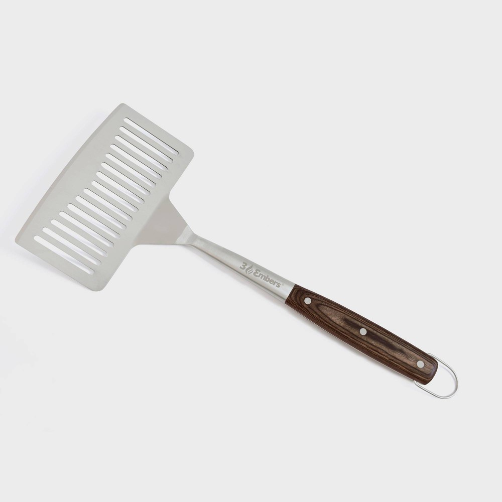 Image of Large Stainless Steel Spatula with Pakkawood Handle Silver - 3 Embers