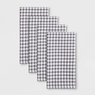 4pk Cotton Gingham Woven Napkins Gray - Town & Country Living