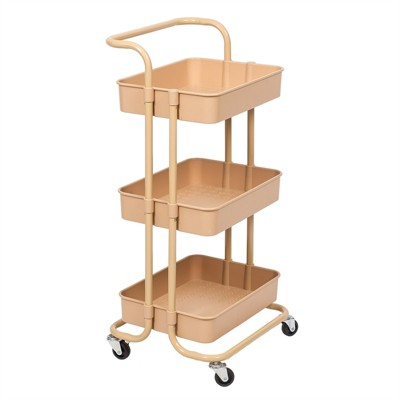 Pemberly Row 3 Tier Mobile Storage Caddy in Beige