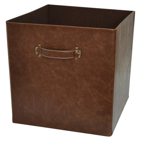 Faux Leather Fabric Cube - Earth Gray - Threshold™ - image 1 of 1