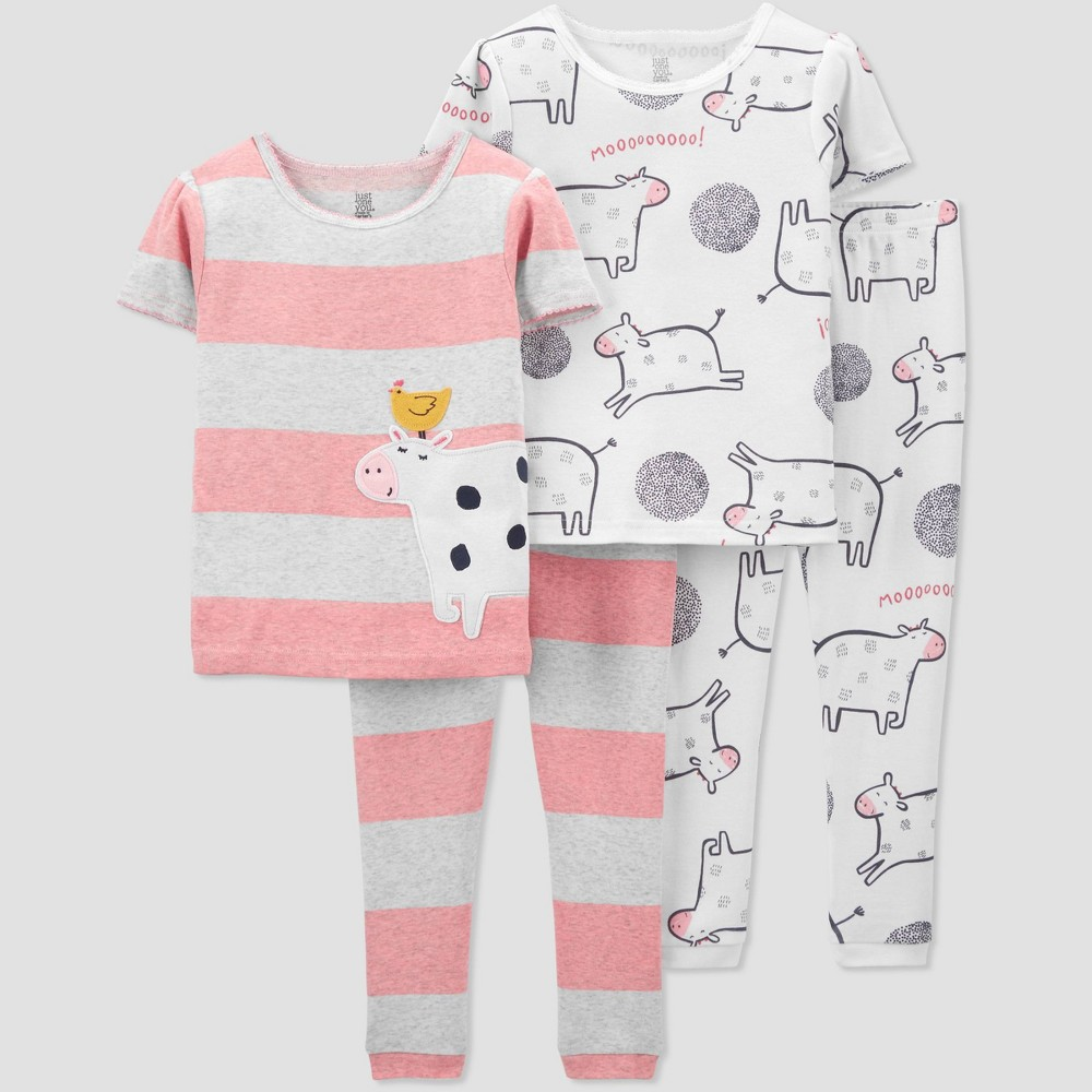 Toddler Girls 39 4pc Cow Pajama Set Just One You 174 Made By Carter 39 S White Gray Pink 3t