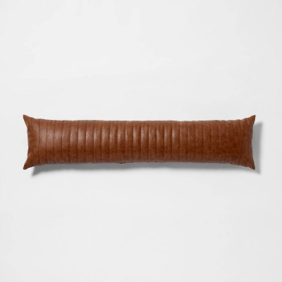 Lumbar Channel Stitch Faux Leather Decorative Pillow Brown - Project 62™ + Nate Berkus™