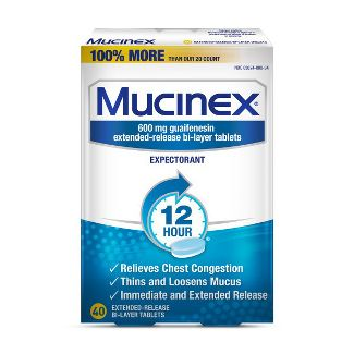 Mucinex 12-Hour Chest Congestion Expectorant Tablets - 40ct