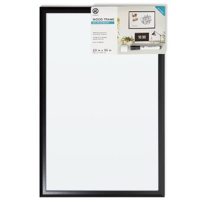 "U Brands 23""x35"" Magnetic Dry Erase Board Black Wood Frame with Marker"