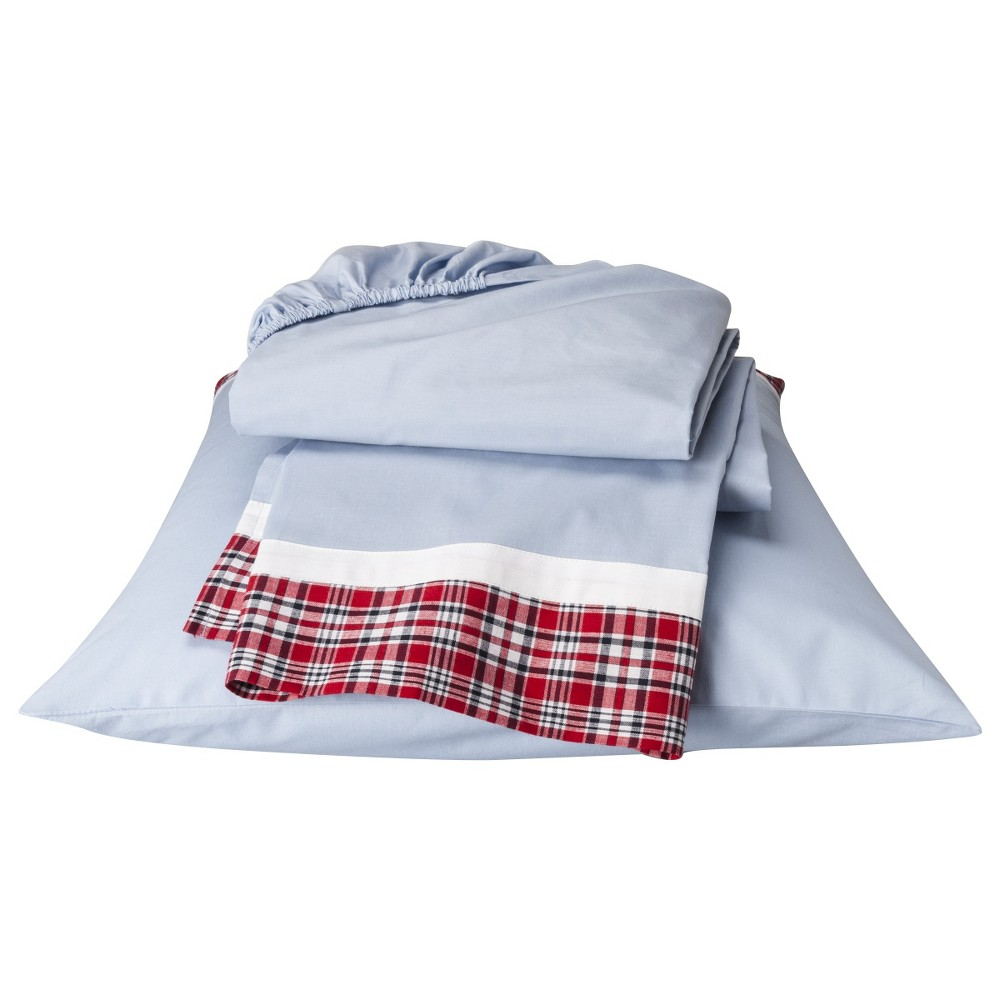 Image of Bacati Plaid and Striped Boys' Toddler Sheet Set