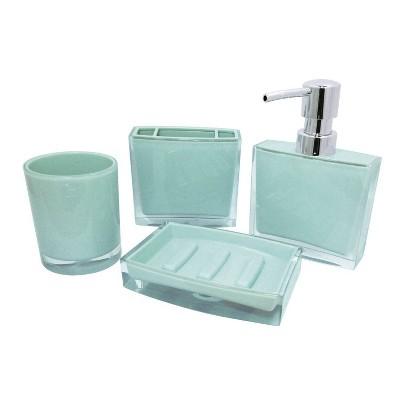 4pc Krystal Bathware Acrylic Bath Accessory Combo Azul Blue - Kingston Brass
