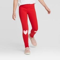 Girls' Glitter Heart Leggings - Cat & Jack™ Red