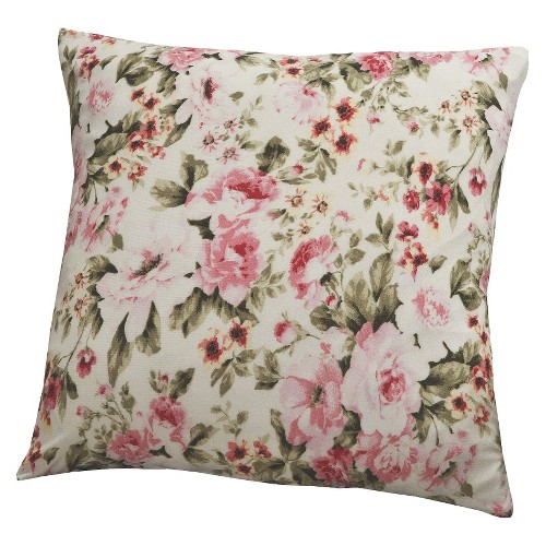 Floral Pink Jersey Throw Pillow Slipcover