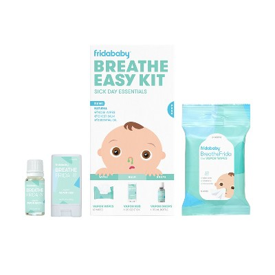 Fridababy Baby Breathe Easy Kit Sick Day Essentials with Vapor Wipes, Vapor Rub and Vapor Drops