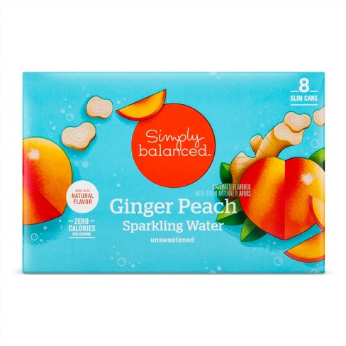 Ginger Peach Sparkling Water - 8pk/12 fl oz Cans - Simply Balanced™ - image 1 of 1