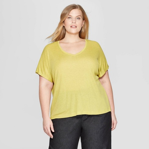 Women's Plus Size Short Sleeve V-Neck Dolman T-Shirt - Prologue™ Yellow 1X - image 1 of 3