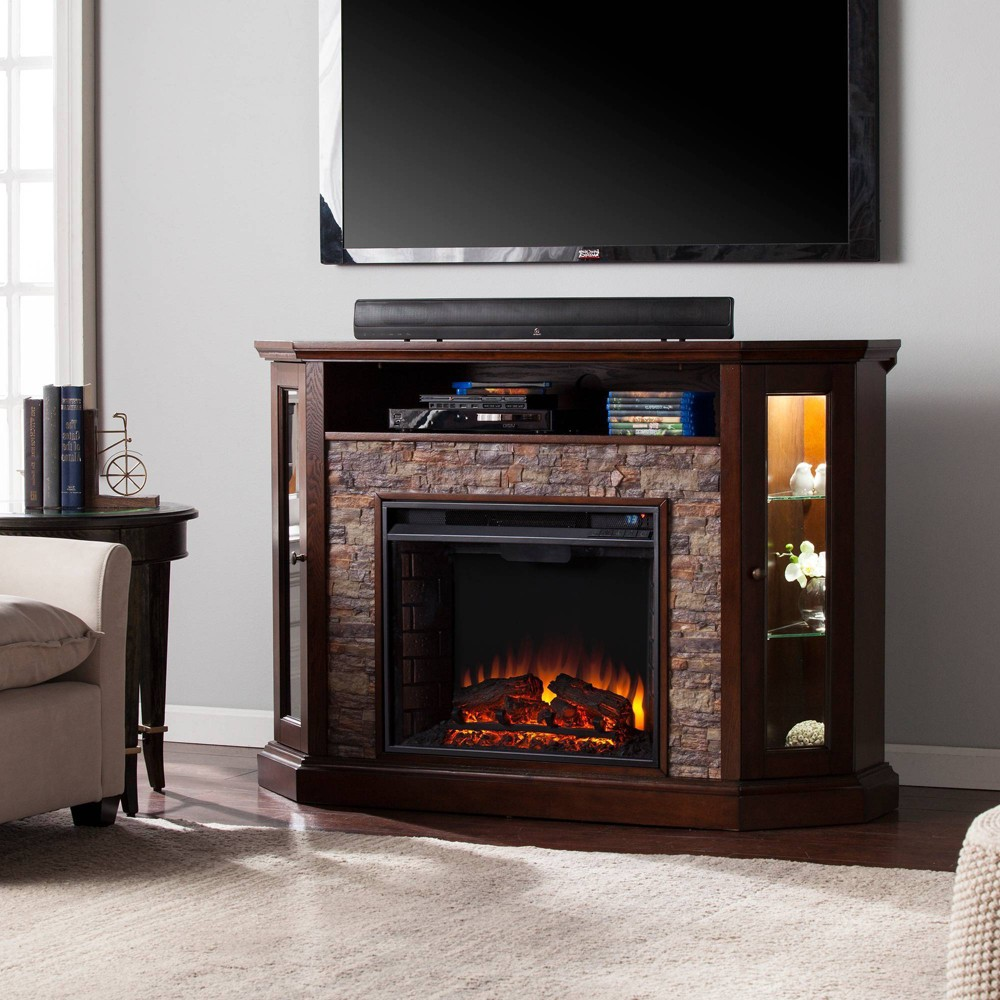 Image of Reddon Corner Convertible Electric Media Fireplace Espresso - Aiden Lane