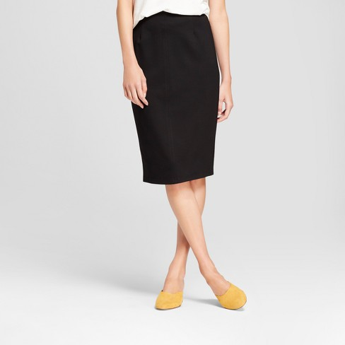 Women's Stretch Pencil Skirt - K by Kersh Black - image 1 of 2