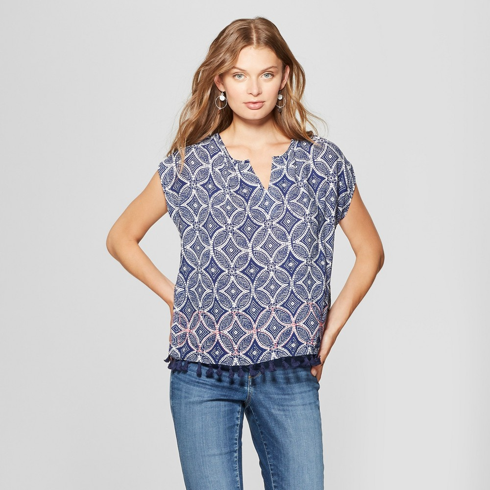 Image of petiteWomen's Short Sleeve Tassel Trim Blouse - John Paul Richard - Blue L, Size: Large