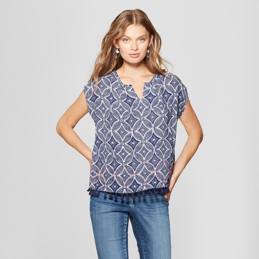 Image of Women's Short Sleeve Tassel Trim Blouse - John Paul Richard - Blue L, Size: Large