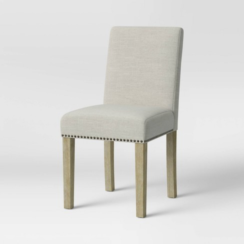 Stupendous Chestertown Dining Chair With Nailheads Beige Linen Threshold Bralicious Painted Fabric Chair Ideas Braliciousco