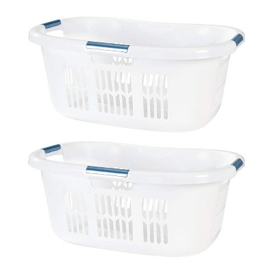 Rubbermaid 2.1-Bushel Small Hip-Hugger Portable Plastic Laundry Basket with Grab-Through Handles, White (2-Pack)