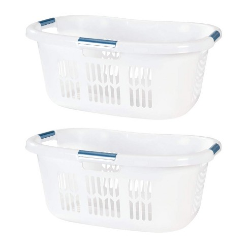 Rubbermaid 2 1 Bushel Small Hip Hugger Portable Plastic Laundry Basket With Grab Through Handles White 2 Pack Target