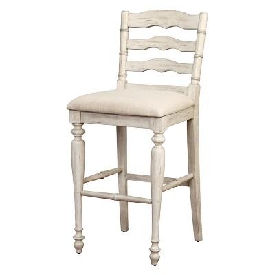 29 Marino Bar Stool Upholstered Back And Seat White Wash Wood