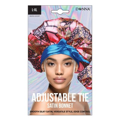 Donna Adjustable Tie Satin Bonnet - L/XL