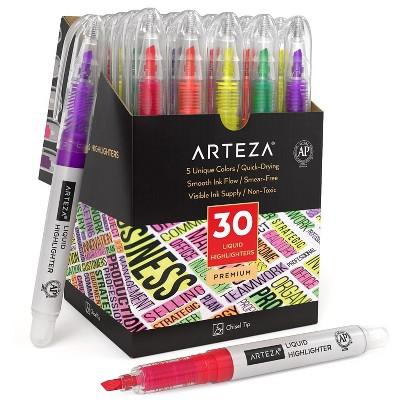 Arteza Liquid Highlighters, Chisel Tip, 5 Assorted Colors - Set of 30