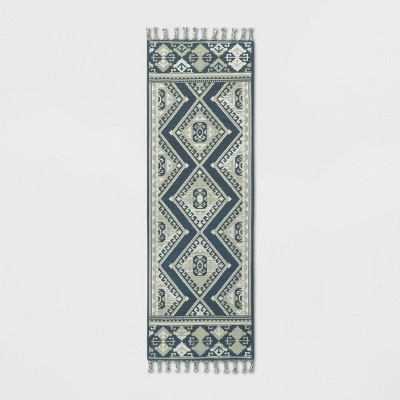 2'4 X7' Diamond Woven Accent Rug Navy - Threshold™